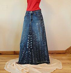 Long Denim Skirts | Long Denim Skirt - Made to Order - Bleach Treated Hippie Long Denim ...