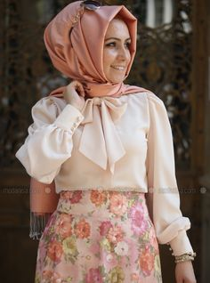 Bow-Tie Detailed Blouse - Somon - Pınar Şems1