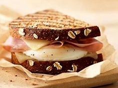 The Panera Breakfast Power Sandwich: All-natural egg — freshly cracked every morning — a thick slice of Vermont white cheddar and smoked, lean ham all grilled on freshly baked Whole Grain bread.