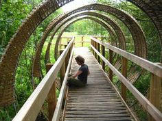 Boardwalk with nature inspired sculptures (willow arches). Berryman's Marsh, Dartington, UK