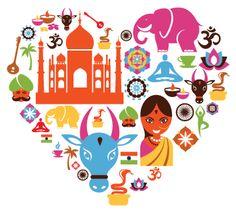 ACTIVITE - Illustrer l'Inde en coeur avec des images qui évoquent ce pays à l'enfant.