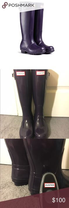 Women's 7 GLOSSY Dark Purple Tall Hunter Boots Almost NWOT Women's GLOSSY Dark Tall Purple Hunter Boots in size 7. Super comfy & great material. Only wore about 3 times since they do not fit with thick socks. I am normally a size 7.5 but Hunter Boots go by whole sizes. You can tell these have minimal wear. I tried to take photos to show the dark purple color. I will even include the cleaner in the purchase. Unfortunately I do. It have the original box. These originally retail for $160…