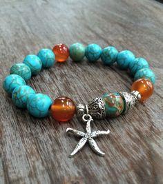 Star Fish Gemstone Bead Bracelet by mSsDdesigns on Etsy