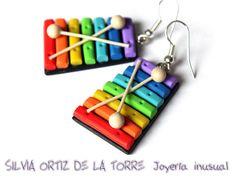 Boucles d'oreilles en pâte polymère (Fimo) xylophones! Colorées et originales!