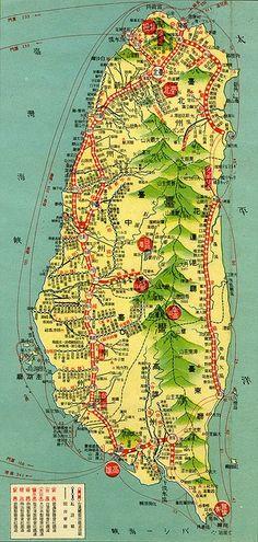 MAP OF TAIWAN BY ARTIST UNKNOWN. Old maps make wonderful wall art!! #taiwanese #art SEE MORE ART NOW www.richard-neuman-artist.com