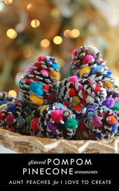 iLoveToCreate Blog: Glittered PomPom Pinecone Ornaments