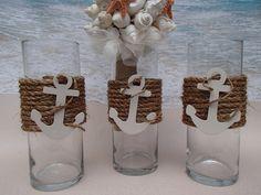 Set of 3 Nautical Vase Centerpieces - Anchor Navy Boating Boat Coastal Wedding…