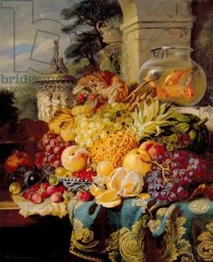Still life of fruit on a ledge with a goldfish bowl, 1876