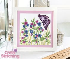 Exclusive - butterfly meadow. Cross stitch a stunning summer scene, created by Kate Knight. Enjoy the pattern only in issue 229, June issue, of The World of Cross Stitching magazine