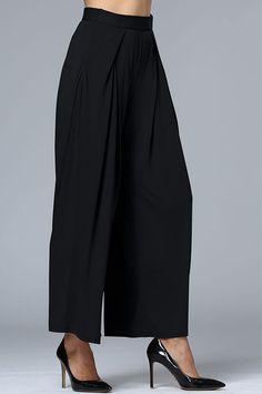 Black Fashion High Waist Wide Leg Loose Trousers