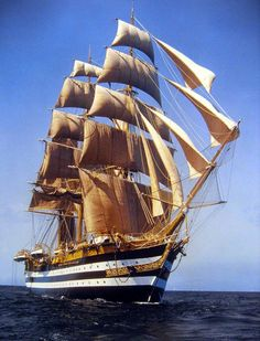 Tall Ships and Sailing Amerigo Vespucci Tall Ship Under Sail Old Sailing Ships, Sailing Boat, Full Sail, Wooden Ship, Sea And Ocean, Ocean Gif, Sail Away, Ship Art, Wooden Boats