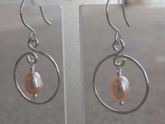 Hoop Dangle Earrings, Pink Pearl & Silver, June Birthstone, Valentine's Day. $18.50, via Etsy.
