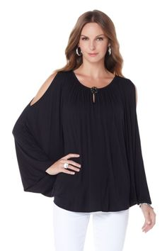 Summer is here! Wear something that is both fashionable and lightweight in the heat with @DianeGilman's cold-shoulder cocoon tee!
