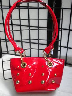 ITALIAN HANDBAG VINTAGE Red Patent Leather 1980's by blingblingfling on Etsy