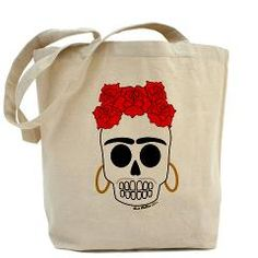 """Calaca Frida"" Double Print Tote Bag   by Dustpan Productions"
