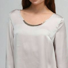 Draped Back Taupe Top This stunning top has instantly become one of my favorites. 100% polyester. Also available in Medium. Moon Collection Tops
