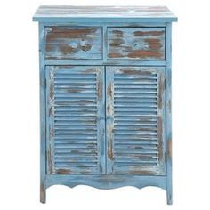 "At home in a country cottage or coastal retreat, this charming wood cabinet showcases 2 drawers, 2 louvered doors, and a distressed finish.    Product: CabinetConstruction Material: Wood and metalColor: Blue and brownFeatures:  Distressed finishTwo drawersTwo louvered doors Dimensions: 40"" H x 28"" W x 16"" D"
