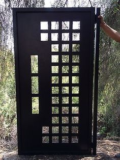 Metal Gate Contemporary Modern Iron Garden Art Walk Pedestrian Made in USA Urban Steel Gate, Steel Doors, Iron Garden Gates, Iron Fences, Garden Fencing, Metal Gates, Metal Gate Door, Metal Screen, Grill Door Design