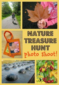 Great idea for a nature treasure hunt photo shoot - perfect for fall.