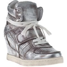 3ca499cae3fa9 ASH Cool-Ter Wedge Sneakers Silver Leather ( 99) ❤ liked on Polyvore  featuring