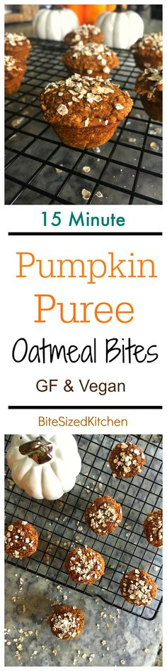 Easy freezable Pumpkin Spice Puree Oatmeal Bites that are vegan and gluten free! A super moist quick breakfast recipe for on-the-go! Pumpkin Recipes, Fall Recipes, Holiday Recipes, Healthy Breakfast Recipes, Snack Recipes, Healthy Recipes, Healthy Meals, Dessert Recipes, Healthy Eating