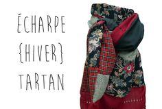 Echarpe Femme Pure Laine Soie Hiver Tartan Ecossais Fleurs Rouge Bordeaux Fait Main Modèle Unique : Echarpe, foulard, cravate par lefil