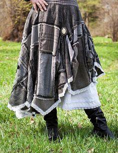 """Купить Юбка """"Твидовый пэчворк"""" черно-серая. - темно-серый, бохо юбка, пэчворк"""