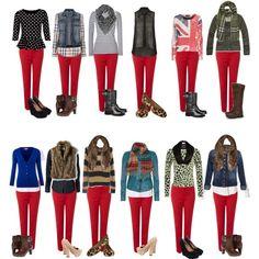 Rote Hose kombinieren :)