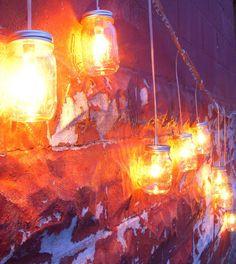Autumn Fireflies - Mason Jar Banner Lights Hanging Swag Style