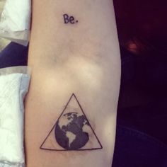 "My newest tattoo. The ""Be."" Is for Tolstoy's ""if you want to be happy, be."" And the other is a delta which is a symbol for change, and the globe, representing changing the world."