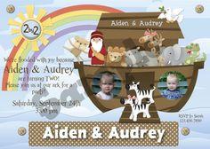 Noah's Ark Twin Birthday Party Invitation idea