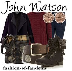 John Watson inspired outfit for girls. I don't really see John wearing combat boots.