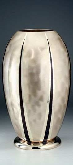 1934 design wmf ikora metal deco enamelled plated vase