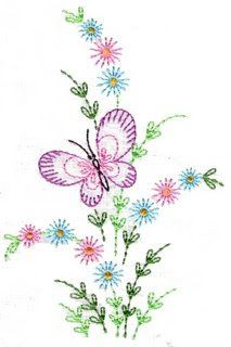 Embroidery or painting butterflies - Drawings and Scratches Hand Embroidery Patterns Flowers, Border Embroidery Designs, Machine Embroidery Designs, Towel Embroidery, Hand Embroidery Stitches, Embroidery Techniques, Flower Art Drawing, Mandala, Couture