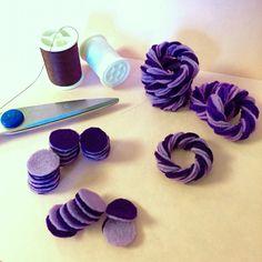 Purple felt cupcake iceing. www.FeltLikeSweets.Etsy.com