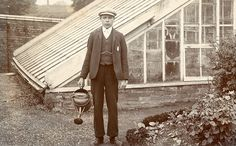 Victorian gardener with watering can
