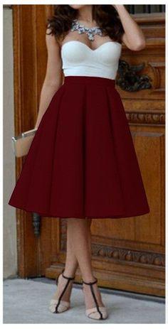 Pure Color High Waist Pleated A-line Skirt