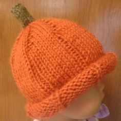 Knit Pumpkin Hat.  www.facebook.com/PumpkinPatchTV