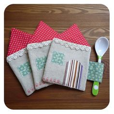 little house coasters with spoon holder!