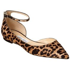 Jimmy Choo Jimmy Choo Lucy Leopard Print Haircalf Pointy-Toe Flat... ($560) ❤ liked on Polyvore featuring shoes, flats, natural, ankle strap flats, pointed-toe flats, leopard shoes, leopard flats and leopard calf hair flats