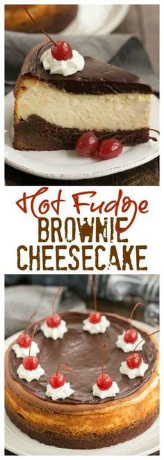 Hot Fudge Brownie Cheesecake - 3 layers of dessert deliciousness! #cheesecake #chocolate #hotfudge #dessert