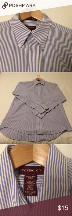 """Men's Oxford Dress Shirt Blue and White Stripe """"seeesucker"""" pattern. Nice heavy weight fabric. Barely worn, excellent condition. Size Medium, 15-15.5 neck, 32-33 sleeve. Covington Shirts Casual Button Down Shirts"""