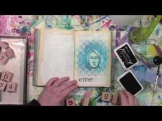 An altered book tutorial with a rubber stamp and a stencil. Video by Carolyn Dube. Stencil by StencilGirl.