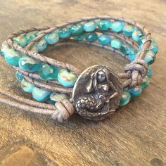 Mermaid of the Sea Soul Surfer Leather Wrap by TwoSilverSisters