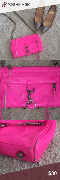 Rebecca Minkoff hot pink bag Love this hot pink Rebecca Minkoff bag! You can dress it up or dress it down. This was my go to vacation bag. Just big enough to fit everything you need! Definitely shows some signs of wear as seen in the pictures. Interior is perfect. Rebecca Minkoff Bags Crossbody Bags