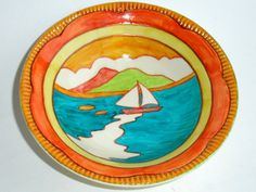 Clarice Cliff Bowl, Newport Pottery, scarce Sailing Boat pattern vintage 1930s Art Deco