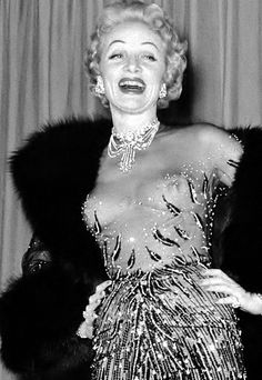 """Marlene Dietrich wearing a see-through Jean Louis """"skin and beads"""" gown at her Las Vegas debut, 1953. Marlene was 52 years old at the time, and looked fabulous."""