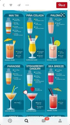 Cocktails Vodka, Funny Cocktails, Easy Cocktails, Classic Cocktails, Cocktail Drinks, Tequila Drinks, Malibu Rum Drinks, Alcoholic Beverages, Paloma Cocktail