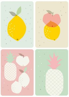 Set of four fruit postcards in pastel colors by designer Juliette Collet.