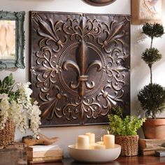 Bronze Fleur-de-lis Tile Wall Plaque | Kirkland's-Love this..and great price..might be good to use my gift cert on...